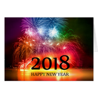 Gold 2018 Happy New Year Fireworks card