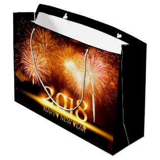 Gold 2018 Happy New Year Fireworks gift bag