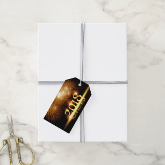 Gold 2018 Happy New Year Fireworks Gift tag