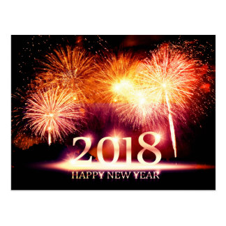 Gold 2018 Happy New Year Fireworks Postcard
