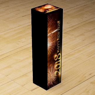 Gold 2018 Happy New Year Fireworks Wine Box