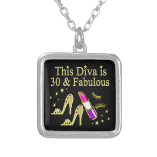 GOLD 30 AND FABULOUS 30TH BIRTHDAY DESIGN SILVER PLATED NECKLACE