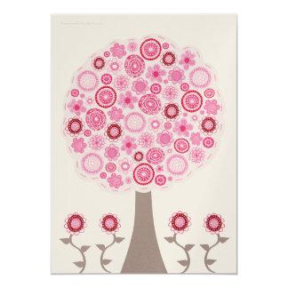 Gold 30th Birthday Designer Pink Tree Invitation