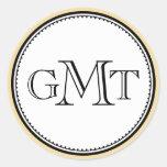 Gold 3 initial letter monogram royal elegance seal round sticker