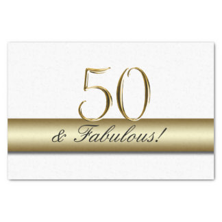 Gold 50 and Fabulous   50th Birthday Tissue Paper