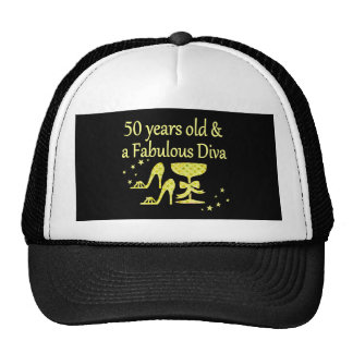 GOLD 50 YRS OLD AND A FABULOUS DIVA BIRTHDAY CAP