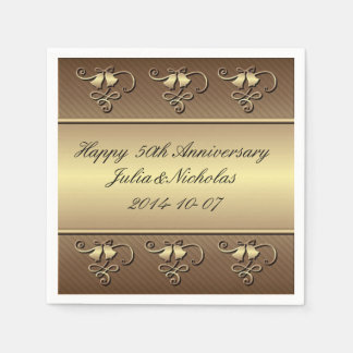 Gold 50th Anniversary Personalised Napkins Paper Serviettes