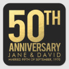 Gold 50th Anniversary Personalised Stickers
