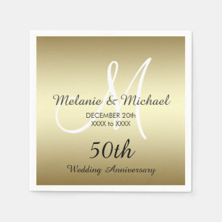 Gold 50th Wedding Anniversary Paper Napkins Paper Napkin
