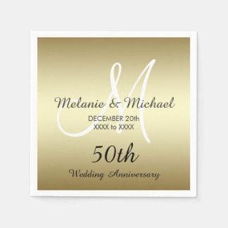 Gold 50th Wedding Anniversary Paper Napkins Paper Napkin