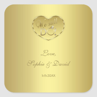 Gold 50th Wedding Anniversary We still DO Square Sticker