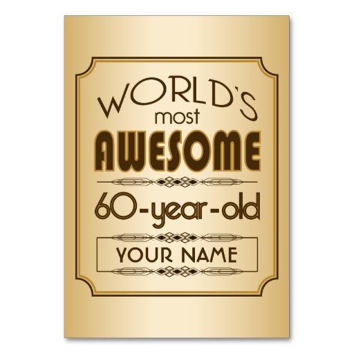 Gold 60th Birthday Celebration World Best Fabulous Table Cards