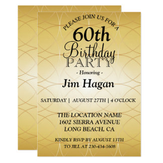 Gold 60th Birthday Party Invitation