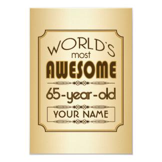 Gold 65th Birthday Celebration World Best Fabulous 9 Cm X 13 Cm Invitation Card