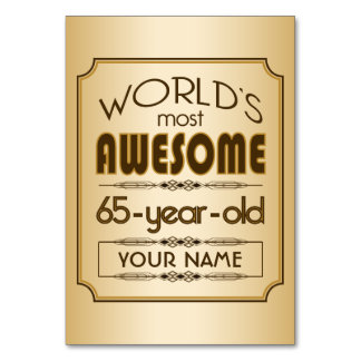 Gold 65th Birthday Celebration World Best Fabulous Table Cards