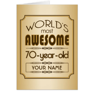 Gold 70th Birthday Celebration World Best Fabulous Card