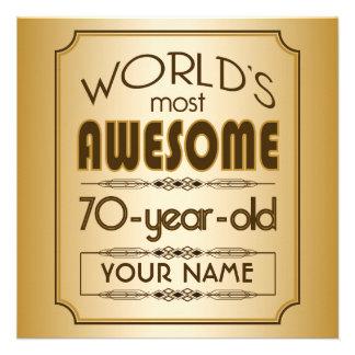 Gold 70th Birthday Celebration World Best Fabulous Personalized Invitation