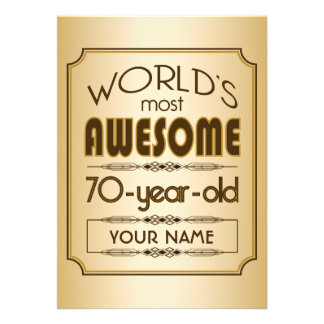 Gold 70th Birthday Celebration World Best Fabulous Announcement