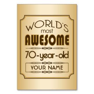 Gold 70th Birthday Celebration World Best Fabulous Table Card