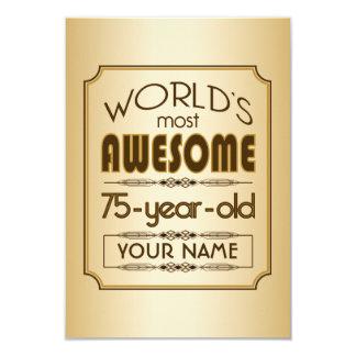 Gold 75th Birthday Celebration World Best Fabulous 9 Cm X 13 Cm Invitation Card