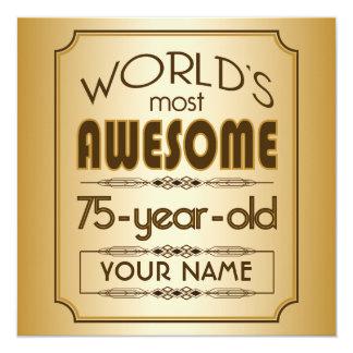 "Gold 75th Birthday Celebration World Best Fabulous 5.25"" Square Invitation Card"