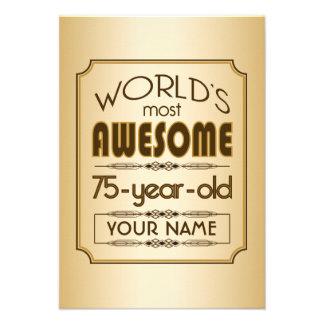 Gold 75th Birthday Celebration World Best Fabulous Invitation