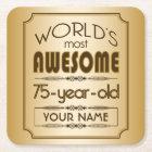 Gold 75th Birthday Celebration World Best Fabulous Square Paper Coaster