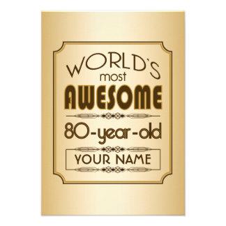 Gold 80th Birthday Celebration World Best Fabulous Announcements