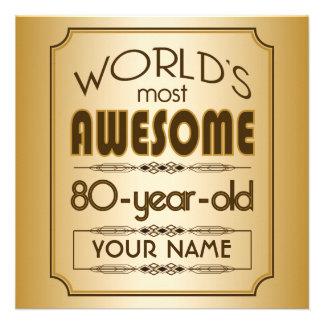 Gold 80th Birthday Celebration World Best Fabulous Announcement