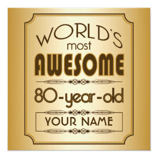 Gold 80th Birthday Celebration World Best Fabulous 13 Cm X 13 Cm Square Invitation Card
