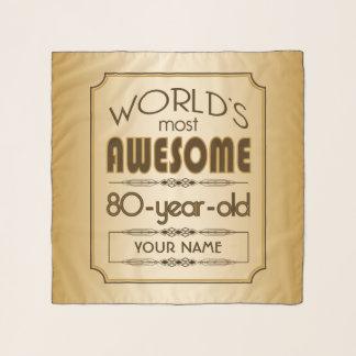 Gold 80th Birthday Celebration World Best Fabulous Scarf