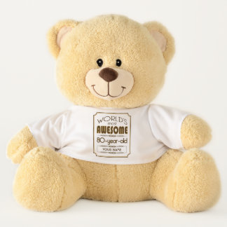 Gold 80th Birthday Celebration World Best Fabulous Teddy Bear