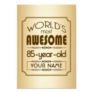 Gold 85th Birthday Celebration World Best Fabulous 9 Cm X 13 Cm Invitation Card