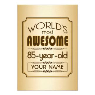 Gold 85th Birthday Celebration World Best Fabulous Invitations
