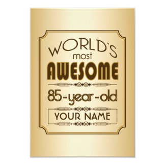 Gold 85th Birthday Celebration World Best Fabulous 3.5x5 Paper Invitation Card