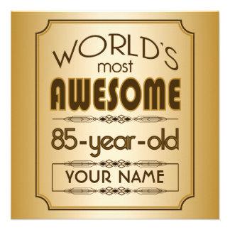 Gold 85th Birthday Celebration World Best Fabulous Personalized Invite