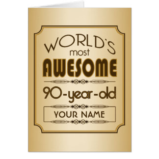 Gold 90th Birthday Celebration World Best Fabulous Greeting Card