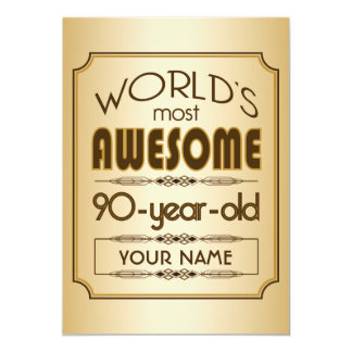 Gold 90th Birthday Celebration World Best Fabulous Personalized Announcement