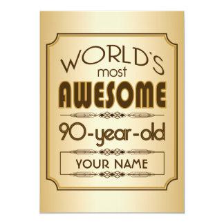 Gold 90th Birthday Celebration World Best Fabulous 13 Cm X 18 Cm Invitation Card