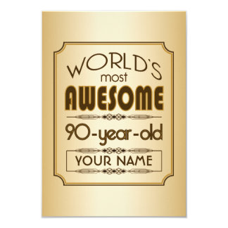 Gold 90th Birthday Celebration World Best Fabulous 9 Cm X 13 Cm Invitation Card