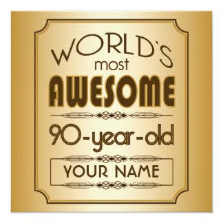 Gold 90th Birthday Celebration World Best Fabulous 13 Cm X 13 Cm Square Invitation Card