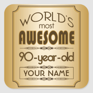 Gold 90th Birthday Celebration World Best Fabulous Square Sticker