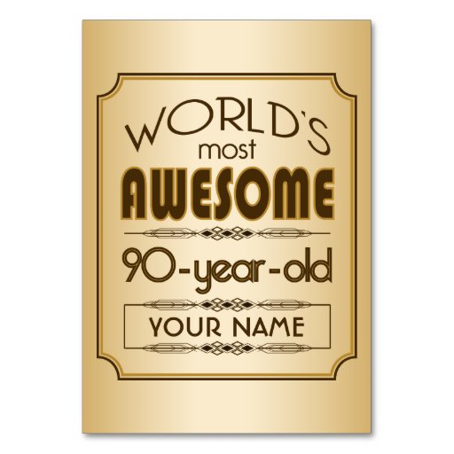 Gold 90th Birthday Celebration World Best Fabulous Table Card