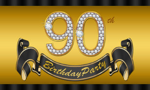 Gold 90th Birthday Party Banner