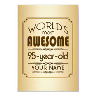Gold 95th Birthday Celebration World Best Fabulous 9 Cm X 13 Cm Invitation Card