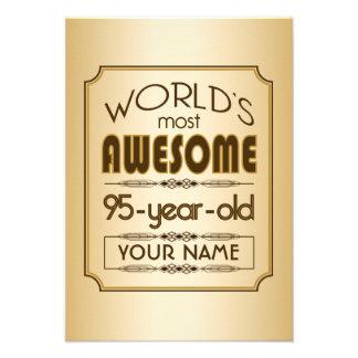Gold 95th Birthday Celebration World Best Fabulous Personalized Invitation