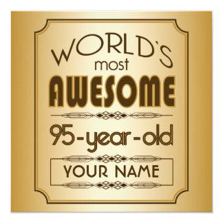 "Gold 95th Birthday Celebration World Best Fabulous 5.25"" Square Invitation Card"