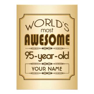 Gold 95th Birthday Celebration World Best Fabulous Cards