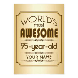 Gold 95th Birthday Celebration World Best Fabulous 13 Cm X 18 Cm Invitation Card