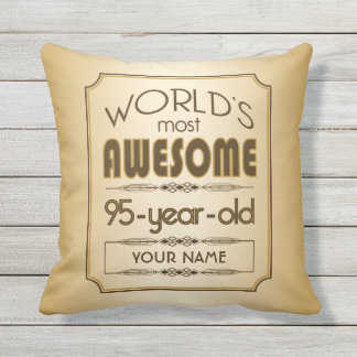 Gold 95th Birthday Celebration World Best Fabulous Throw Pillow